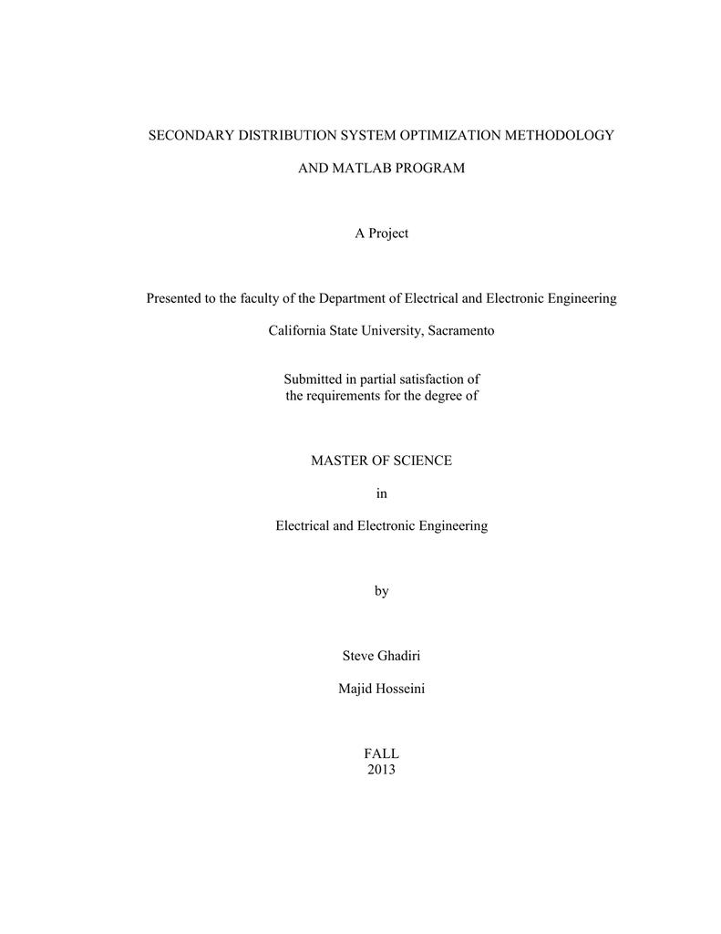 SECONDARY DISTRIBUTION SYSTEM OPTIMIZATION METHODOLOGY AND MATLAB