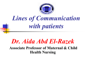 Lines of Communication with patients Dr. Aida Abd El-Razek