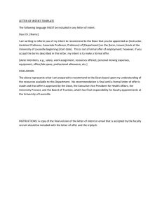LETTER OF INTENT TEMPLATE Dear Dr. [Name]: