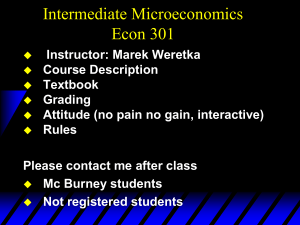 Intermediate Microeconomics Econ 301