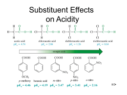 Substituent Effects on Acidity => K