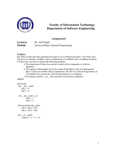 Faculty of Information Technology Department of Software Engineering  Assignment4