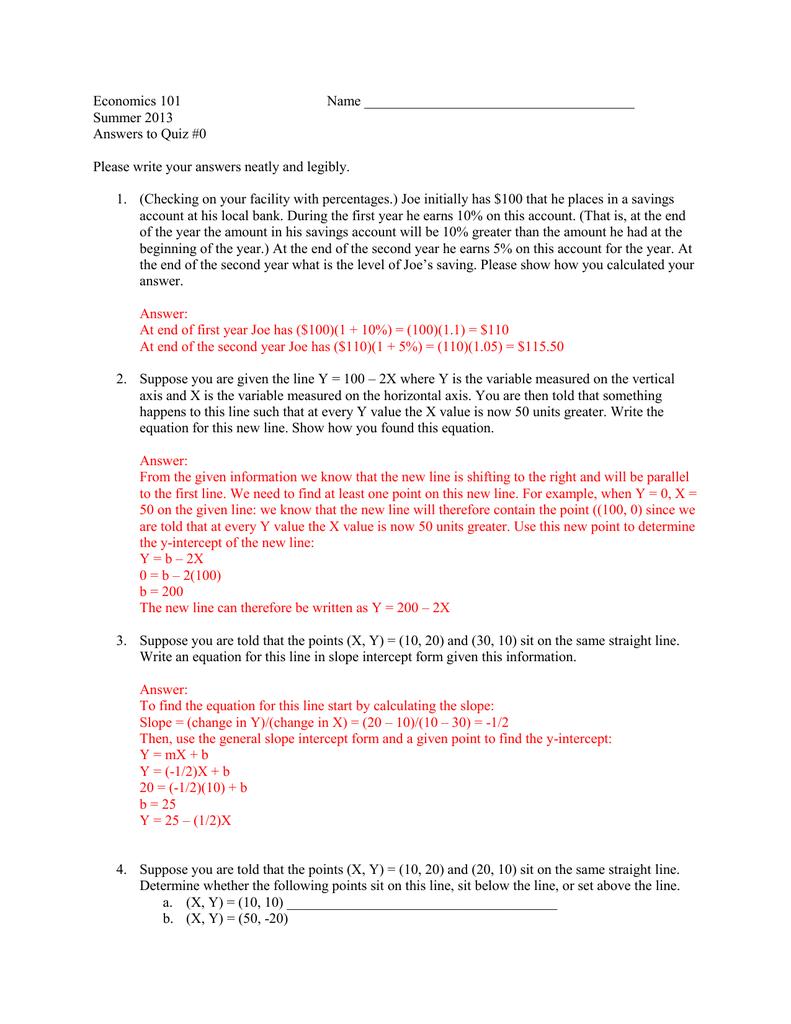 slope intercept form economics  Economics 6 ... Summer 6