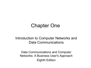 Chapter One Introduction to Computer Networks and Data Communications Data Communications and Computer