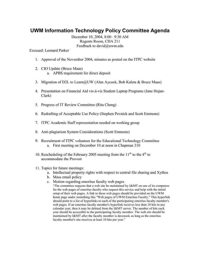 Uwm Financial Aid >> Uwm Information Technology Policy Committee Agenda