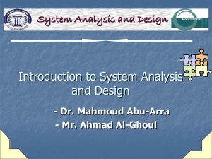 Introduction to System Analysis and Design System Analysis and Design