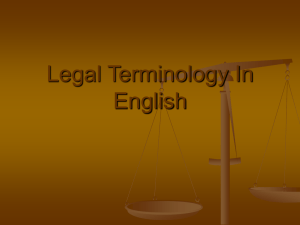 Legal Terminology In English