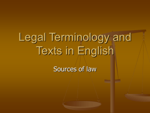 Legal Terminology and Texts in English Sources of law