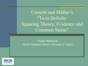 "Corsetti and Müller's ""Twin Deficits: Squaring Theory, Evidence and Common Sense"""