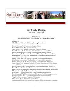 Self-Study Design  Final Draft, October 2004 Submitted to