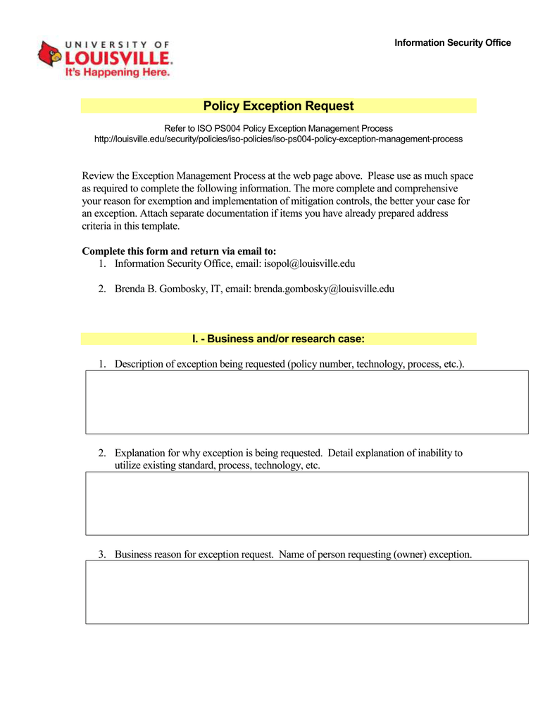 Policy Exception Request Information Security Office
