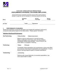 University of Massachusetts Medical School PERFORMANCE APPRAISAL FOR SHARE EMPLOYEES