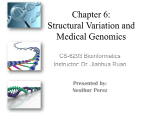 Chapter 6: Structural Variation and Medical Genomics CS-6293 Bioinformatics