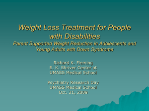 Weight Loss Treatment for People with Disabilities Young Adults with Down Syndrome