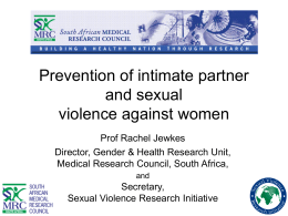 Prevention of intimate partner and sexual violence against women