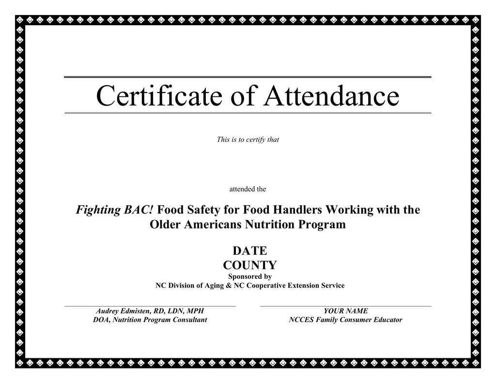 Certificate Of Attendance Older Americans Nutrition Program Date County