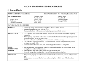 HACCP STANDARDIZED PROCEDURES 2.  Canned Fruits