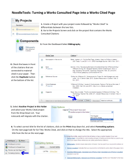 NoodleTools: Turning a Works Consulted Page into a Works Cited...