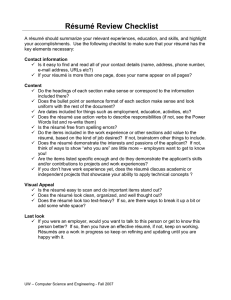 Résumé Review Checklist