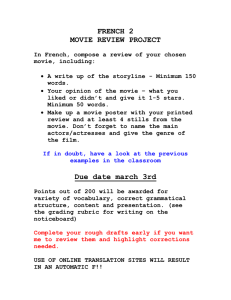 FRENCH 2 MOVIE REVIEW PROJECT