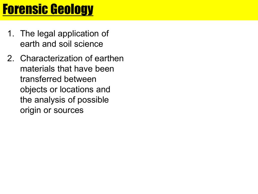 Forensic Geology