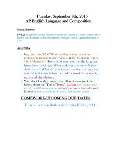 Tuesday, September 8th, 2015 AP English Language and Composition