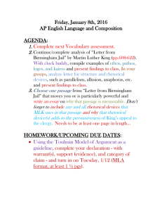 Friday, January 8th, 2016 AP English Language and Composition  AGENDA:
