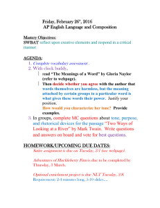 Friday, February 26 , 2016 AP English Language and Composition