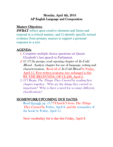 Monday, April 4th, 2016 AP English Language and Composition  Mastery Objectives: