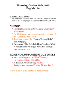 Thursday, October 29th, 2015 English 11A