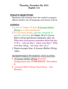 Thursday, November 5th, 2015 English 11A  TODAY'S OBJECTIVES:
