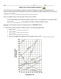 Name:  __________________________________________Date:  ____________Class____________ Solubility Curve Practice Problems Worksheet 1