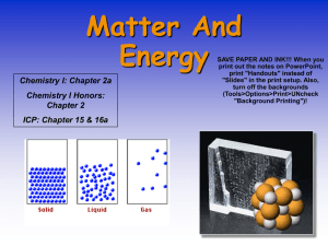 Matter And Energy Chemistry I: Chapter 2a