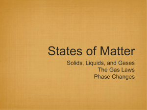 States of Matter Solids, Liquids, and Gases The Gas Laws Phase Changes