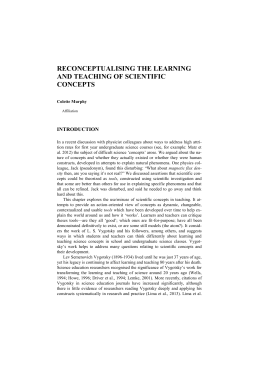 RECONCEPTUALISING THE LEARNING AND TEACHING OF SCIENTIFIC CONCEPTS INTRODUCTION