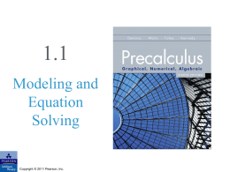 1.1 Modeling and Equation Solving