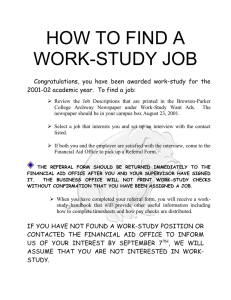 HOW TO FIND A WORK-STUDY JOB