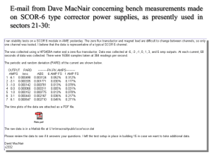 E-mail from Dave MacNair concerning bench measurements made