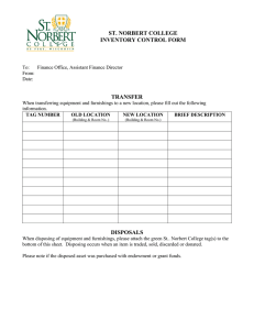 ST. NORBERT COLLEGE INVENTORY CONTROL FORM TRANSFER