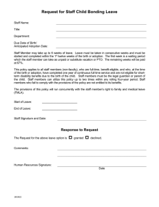 Request for Staff Child Bonding Leave