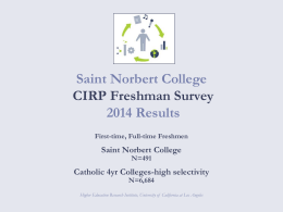 Saint Norbert College 2014 Results CIRP Freshman Survey Catholic 4yr Colleges-high selectivity