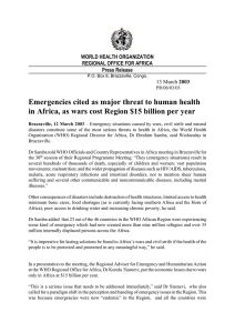 Emergencies cited as major threat to human health  WORLD HEALTH ORGANIZATION