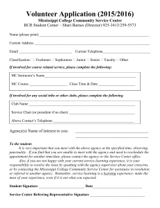 Volunteer Application (2015/2016) Mississippi College Community Service Center