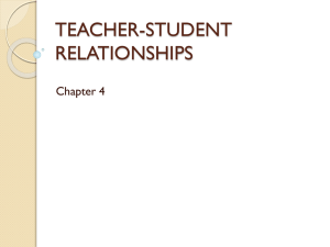 TEACHER-STUDENT RELATIONSHIPS Chapter 4