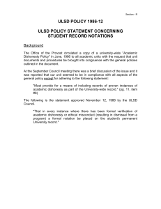ULSD POLICY 1986-12 ULSD POLICY STATEMENT CONCERNING STUDENT RECORD NOTATIONS
