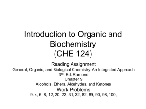 Introduction to Organic and Biochemistry (CHE 124) Reading Assignment