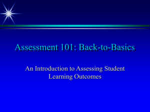 Assessment 101: Back-to-Basics An Introduction to Assessing Student Learning Outcomes