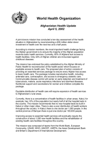 World Health Organization Afghanistan Health Update April 5, 2002