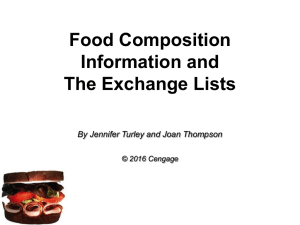 Food Composition Information and The Exchange Lists By Jennifer Turley and Joan Thompson