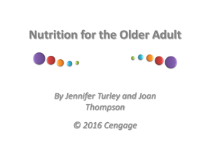 Nutrition for the Older Adult By Jennifer Turley and Joan Thompson